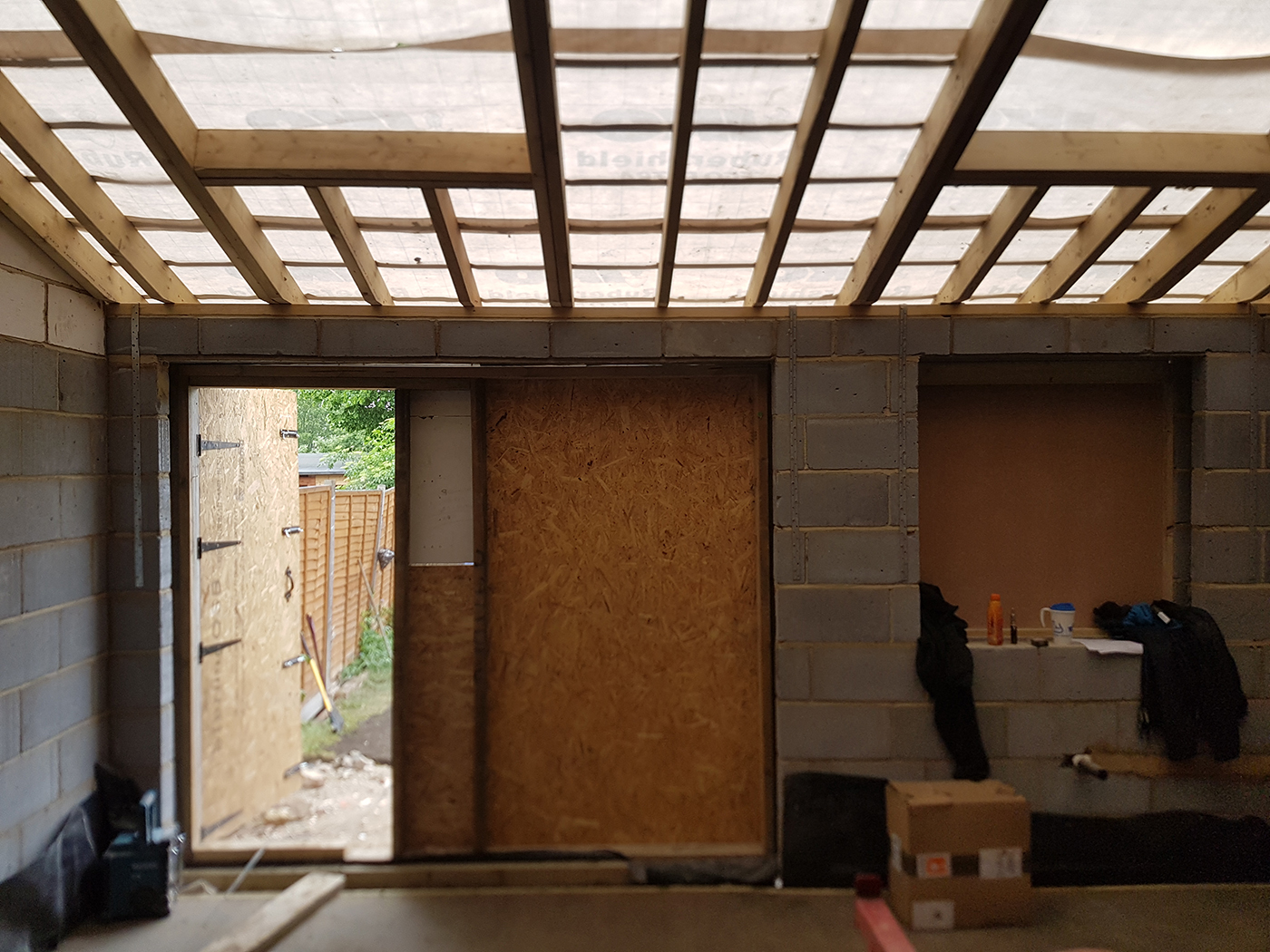 Rear extension interior in progress